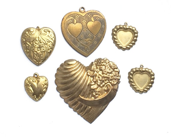 6 vintage stamped brass hearts, heart charms, jewelry supply heart art from Elizabeth Rosen
