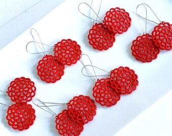 Red Filigree Circle Dangles Cherry Red Bridesmaid Earrings