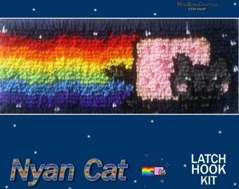 Nyan Cat / Pop-Tart Cat - DIY Latch Hook Kit 6*16 OR 6*24 Inches