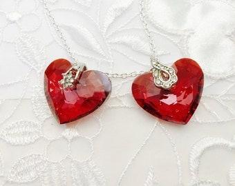 Genuine Swarovski Crystal Heart Shape Pendant, Silver Tone, Item No. B014