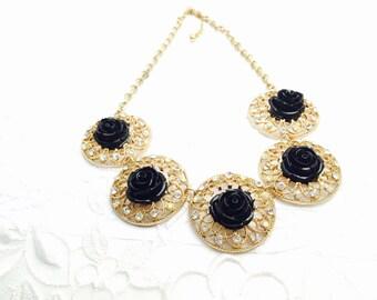 Black Flower Necklace, Vintage Round Gold Tone, Clear Rhinestones, HALF OFF Sale, Item No. B499