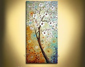 Large Wall Art tree Painting Landscape Oil Acrylic on Canvas Large Gift  Modern Home Decor Wall Art Painting blooming tree cherry white