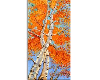 Abstract Art Giclee Print on canvas Interior Decor P Nizamas Aspen Birches ready to hang
