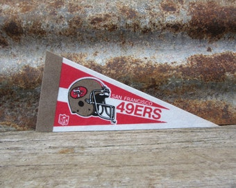 Vintage San Francisco 49ers Football Team 1990s Era NFL Small 9 Inch Mini Felt Pennant Banner Flag vtg Collectible Vintage Display Sports