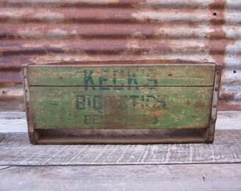 Antique Wood Crate Wooden Box Kecks Big Stick Beverages Green Kecksburg Pa Crate Primitive Aged Chippy Distressed Old Primitive Storage
