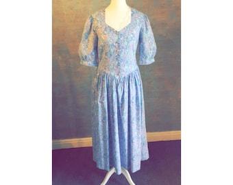 Beautiful True Vintage LAURA ASHLEY Designed Tea Dress - Purple/Blue Floral Design