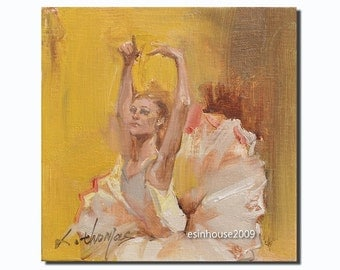 Western ballet  girl  portrait Original Oil Panel Painting 6x6""