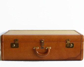 vintage large tweed leather suitcase 1940s Platt Airess
