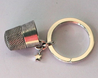 Antique Thimble Peter Pan Hidden Kisses Solid Sterling Silver Key Ring Second Star Right