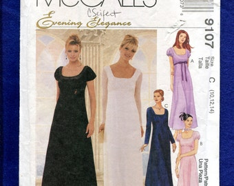 McCall's 9107 Empire Waist A-Line Evening Dress with Sleeve Variations Size 10..12..14 UNCUT