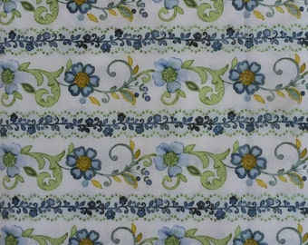 Blue Marianna Floral Stripe fabric, cotton stripe Marianna by Gray Sky Studio, for In The Beginning fabrics
