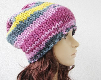 knitted multicolor hat, crayon box beanie, pink, purple, yellow, teal, large winter hat