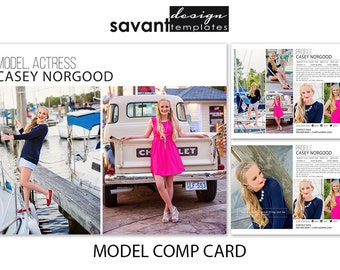 Photography Templates, Model Comp Card Photoshop Marketing Templates, ZED Model Card Templates, Headshot Photography, M101, INSTANT Download