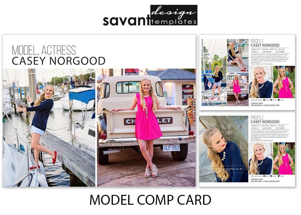 photography templates model comp card photoshop marketing