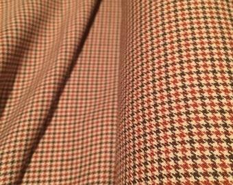Tan Brown Check Fabric x one metre
