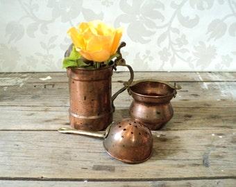 Mini copper and brass kitchen pots, Stein,  Cauldron and strainer sieve,  miniatures, fwsp