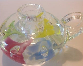 Joe St. Clair Signed Blown Glass Candle Holder with Colored Flowers, Paperweight