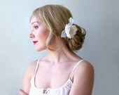 Vintage inspired floral bridal headpiece. Off white and light blue hair flower. Floral hair clip