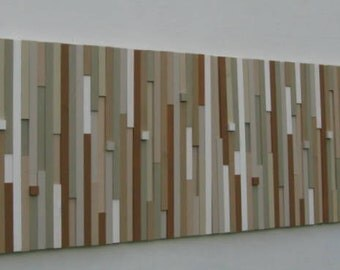 "Wood Sculpture Wall Art - Upcycled Wood- 18""x48""- Rustic Modern Decor- Wall Art"