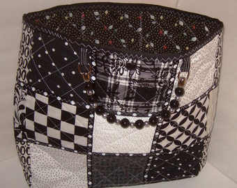 Black & White Quilted Tote with Black and  Silver Beaded  Handles, ribbon,  snap closure.