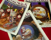 3 Cross Stitch & Country Craft Magazines , Christmas Stockings, Plate, Kneeling Santa