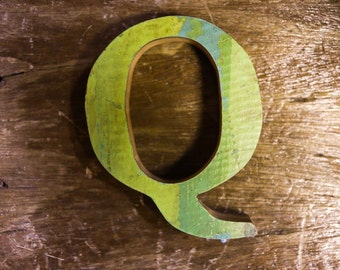 """Beach Decor Wooden LETTER """"Q"""" Vintage Style Nautical by SEASTYLE"""