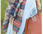 Blanket Scarf Monogrammed - Monogrammed Tan Tartan Plaid Scarf - Monogrammed Plaid Blanket Scarf -Perfect Gift - Plaid Scarf- Teacher Gift