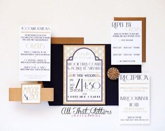 Fancy Vintage Art Deco Wedding Invitations, 20's Wedding Invitations, New Years Eve Wedding Invites, Glamorous Wedding Invitation Set