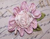Vintage FRENCH SILK Ribbonwork Applique - Pale Pink with Pips & Velvet Leaves