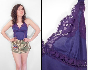 Royal PURPLE Camisole 1960s Lace Edged Bodice Lingerie Tank Size 32
