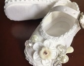 Baptism shoes, Size 3 baby girl baptism shoes, white shoes, christening shoes, silk and crystal shoes, baby baptism shoes, Narelo
