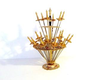 Ships Free // Vintage Brass Sword Cocktail Picks in Holder, Toledo