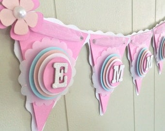 Baby Shower Banner, Pink Baby Shower Banner, Personalized Baby Banner, Baby Name Banner, Custom Baby Banner, Baby Photo Prop - Made to Order