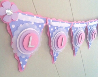Lavender Baby Shower Banner, Lavender and Pink Baby Shower Banner, Custom Baby Shower Banner, Polka Dot Baby Girl Banner - MADE TO ORDER