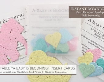 "DIY ""A Baby is Blooming"" Printable Baby Shower Favor Insert Cards for Use with Plantable Seed Paper Confetti Hearts and Glassine Envelopes"