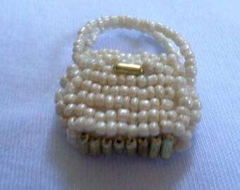 Handmade Purse Charms Glass and Metal Beaded Ecru Gold