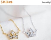 Holiday SALE 50% OFF Tiny sweet crystal Crown Necklace ... SILVER