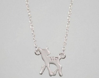 Silver FAWN charm necklace << doe deer woodland cutest thing ever << comes on ADORABLE card ready to give