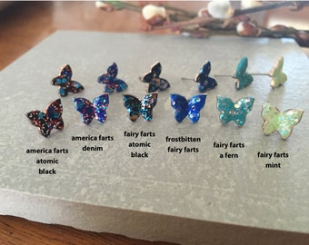 frostbitten FAIRY FARTS >> SALE >> butterfly studs hand painted blue with lots of glitter << these nymphs also donate to Humane Society