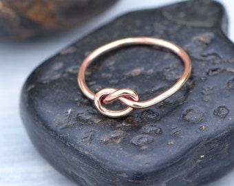 Love Knot Ring, Rose Gold Filled Love Knot, Rose Gold Knot Ring, Love Knot Jewelry, Friendship Ring, Knotted Ring, Promise Ring, Thumb Ring