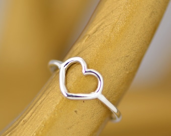 Heart Ring, Sterling Silver Heart Ring, Promise Ring, Valentines Ring, Heart Jewelry, Love Jewelry, Maid of Honor Gift, Bridesmaid Gift