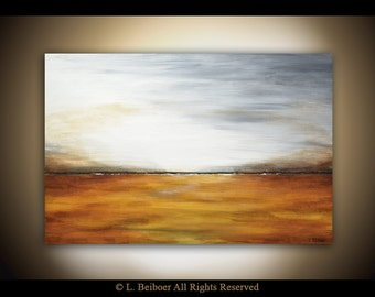 Large Landscape Painting 24 x 36 original modern abstract painting amber gray yellow landscape oil painting by L.Beiboer