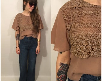 Vintage 80s Tan Floral Blouse Short Sleeve Bell Sleeve Crop Top Brown Folk Size Small