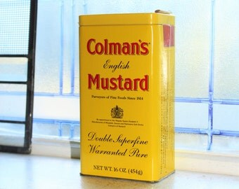 Large Colman's Mustard Tin Retro Yellow Kitchen Tin