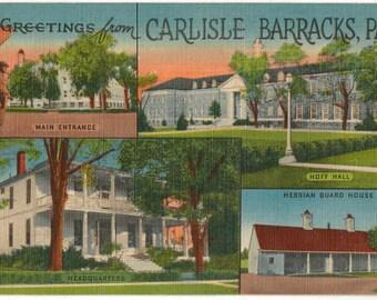 Linen Postcard, Greetings from Carlisle Barracks, Carlisle, Pennsylvania, Large Letter