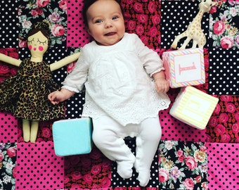 Baby Patchwork Quilt Playmat, Vintage Floral