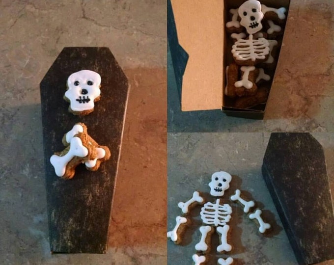 Coffin with skeleton Halloween Hauntingly Good tiny treats skull dog treats