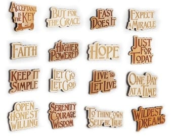 Recovery 12 Step Slogan Magnets - Natural Wood