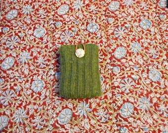 I- Pod Sweater, Mini- Makeup Bag, Mirror Case or Mini Wallet, Made from Green Sweater Fabric