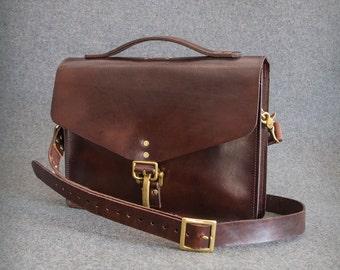Leather Bag, Leather Laptop Bag, Laptop Bag, Messenger Bag, Men's Briefcase, Leather Satchel, Bag, Personalized Gift - Slim Briefcase
